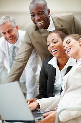 Buy stock photo Team of business people having fun at work