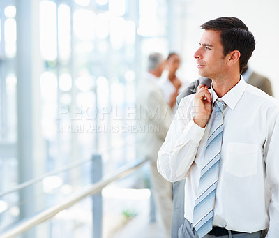 Buy stock photo Portrait of a successful business man looking away