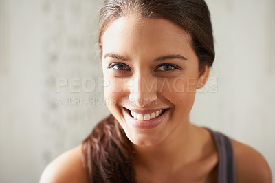 Buy stock photo Head and shoulders portrait of a beautiful young woman
