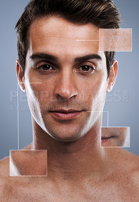 Buy stock photo Closeup studio portrait of a handsome young man with closeup shots of his skin around him