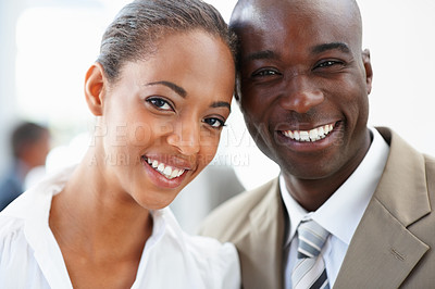 Buy stock photo Closeup portrait of cheerful African American business people