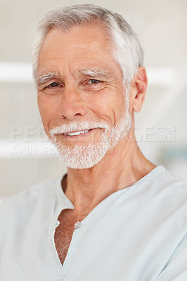 Buy stock photo Closeup portrait of a happy old man