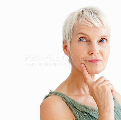 Buy stock photo A beautiful old senior woman in a contemplative with finger on her chin