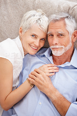 Buy stock photo Happy old couple resting besides eachother