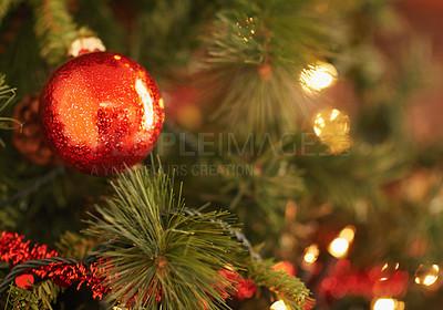 Buy stock photo Closeup shot of christmas ornaments on the tree