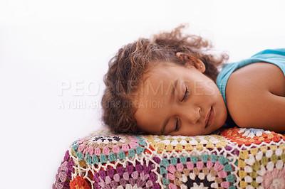 Buy stock photo Shot of an adorable little girl asleep