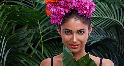 Buy stock photo A portrait of a beautiful woman wearing a colorful headdress in a jungle