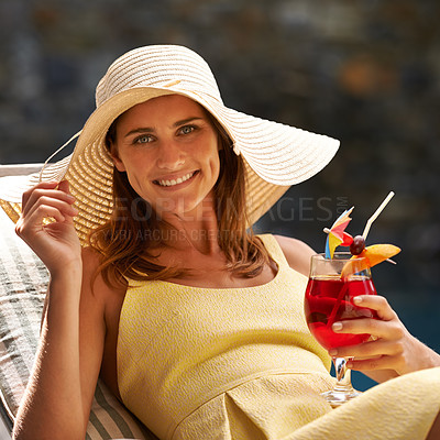 Buy stock photo A beautiful woman enjoying a drink and smiling outdoors