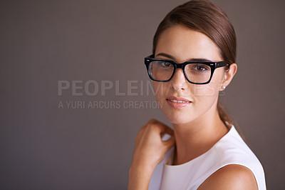 Buy stock photo Beautiful woman wearing glasses