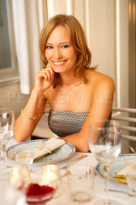 Buy stock photo Formal dinner at a restaurant
