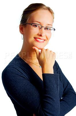 Buy stock photo Satisfied smiling businesswoman