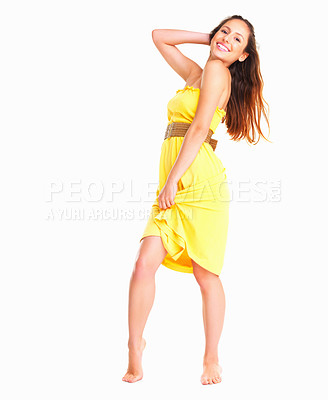 Buy stock photo Woman posing while holding her dress