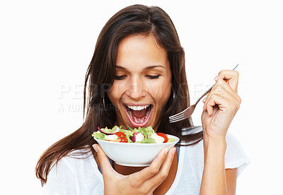 Buy stock photo Woman against white background ready to eat salad