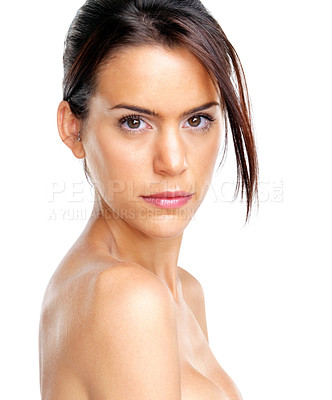 Buy stock photo Portrait of a naked young girl looking confident on white background