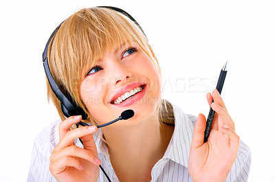 Buy stock photo Hotline operator with headset - A friendly telephone operator isolated on white.