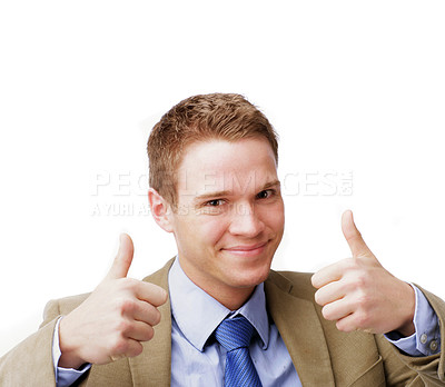 Buy stock photo Portrait of a successful young businessman isolated on white