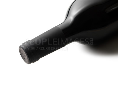 Buy stock photo Isolated red wine bottle on white background.
