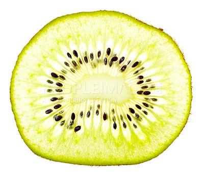 Buy stock photo Macro shot of a kiwi slice