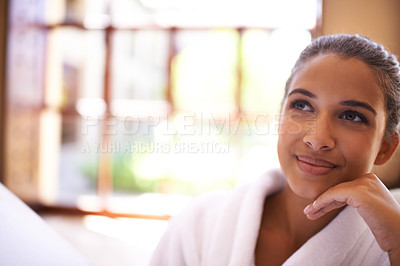 Buy stock photo Portrait of Shot of a young woman in a bathrobe at a health spa