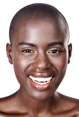 Buy stock photo Closeup studio portrait of a beautiful young african woman isolated on white