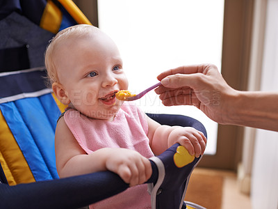 Buy stock photo A cute baby being fed