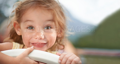 Buy stock photo Portrait of a cute little girl smiling at the camera
