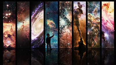 Buy stock photo Silhouette of a child looking at a display of varying galactic phenomena- ALL design on this image is created from scratch by Yuri Arcurs'  team of professionals for this particular photo shoot