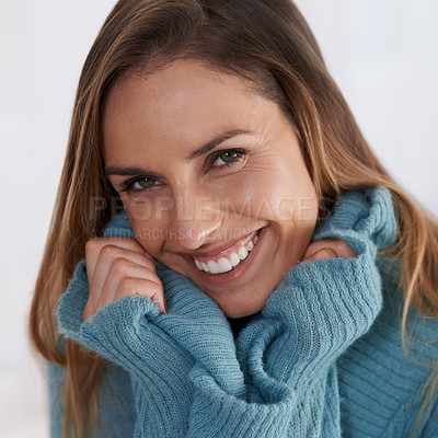 Buy stock photo Portrait of a young woman feeling comfortable in knitwear