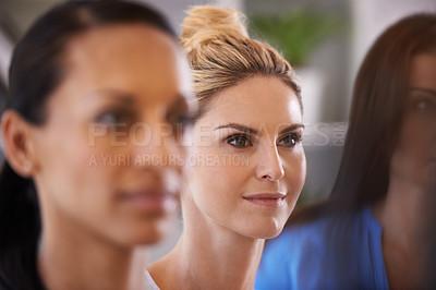 Buy stock photo Shot of three beautiful businesswoman at work