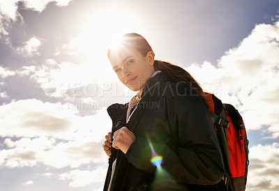 Buy stock photo Shot of an attractive young woman out on a hike