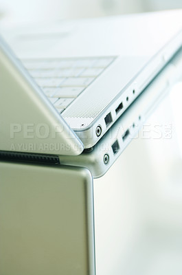 Buy stock photo Nice laptop on a glass table. Reflections from window.