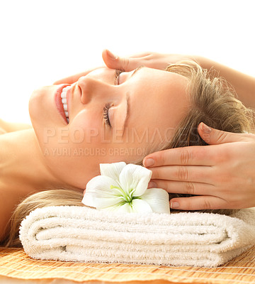 Buy stock photo Day spa massaging and relaxation - a happy woman receiving a facial massage
