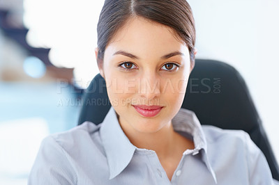 Buy stock photo Closeup of young charming female executive looking confident