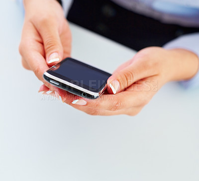 Buy stock photo Closeup of woman's hands holding mobile phone