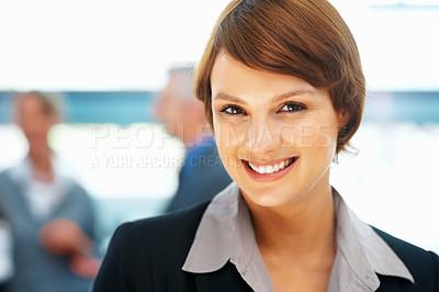Buy stock photo Closeup of young female executive