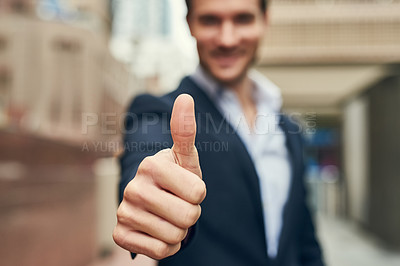 Buy stock photo Closeup shot of an unidentifiable businessman showing thumbs up