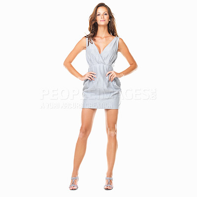 Buy stock photo Full length of confident girl standing with hands on hips against white background