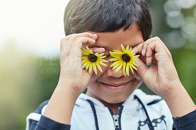Buy stock photo Shot of a little boy holding to flowers up in front of his eyes while playing outside