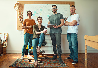 Buy stock photo Portrait of a team of young designers in their office