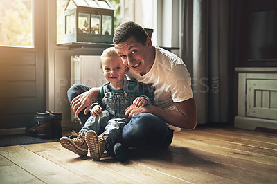 Buy stock photo Portrait of a father bonding with his son at home