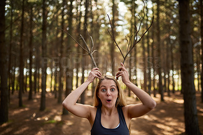 Buy stock photo Portrait of a playful young woman holding tree branches up like antlers in the forest