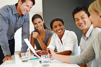 Buy stock photo Cropped shot of a diverse group of business professionals