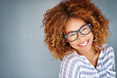 Buy stock photo Studio shot of a young businesswoman against a gray background