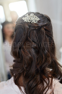 Buy stock photo Rearview shot of a woman's hairdo on her wedding day