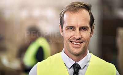 Buy stock photo Portrait of a mature man standing in a factory