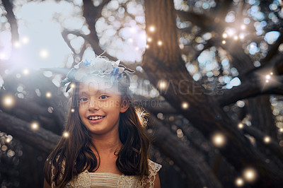 Buy stock photo Portrait of a little girl playing outside