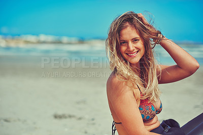 Buy stock photo Portrait of a beautiful young woman enjoying a relaxing day at the beach