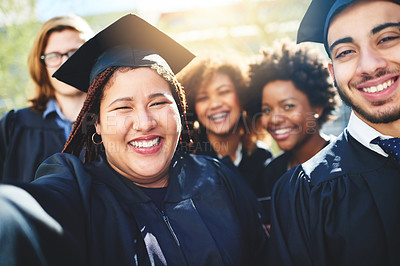 Buy stock photo Cropped shot of a group of students taking a selfie together