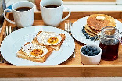 Buy stock photo Still life shot of breakfast on a tray