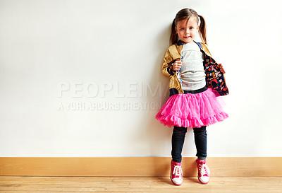 Buy stock photo Shot of a little girl in a dancing studio